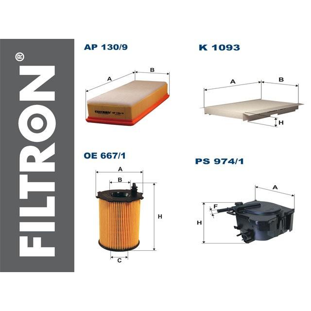 PEUGEOT 307 1.6 HDI zestaw filtrów Filtron