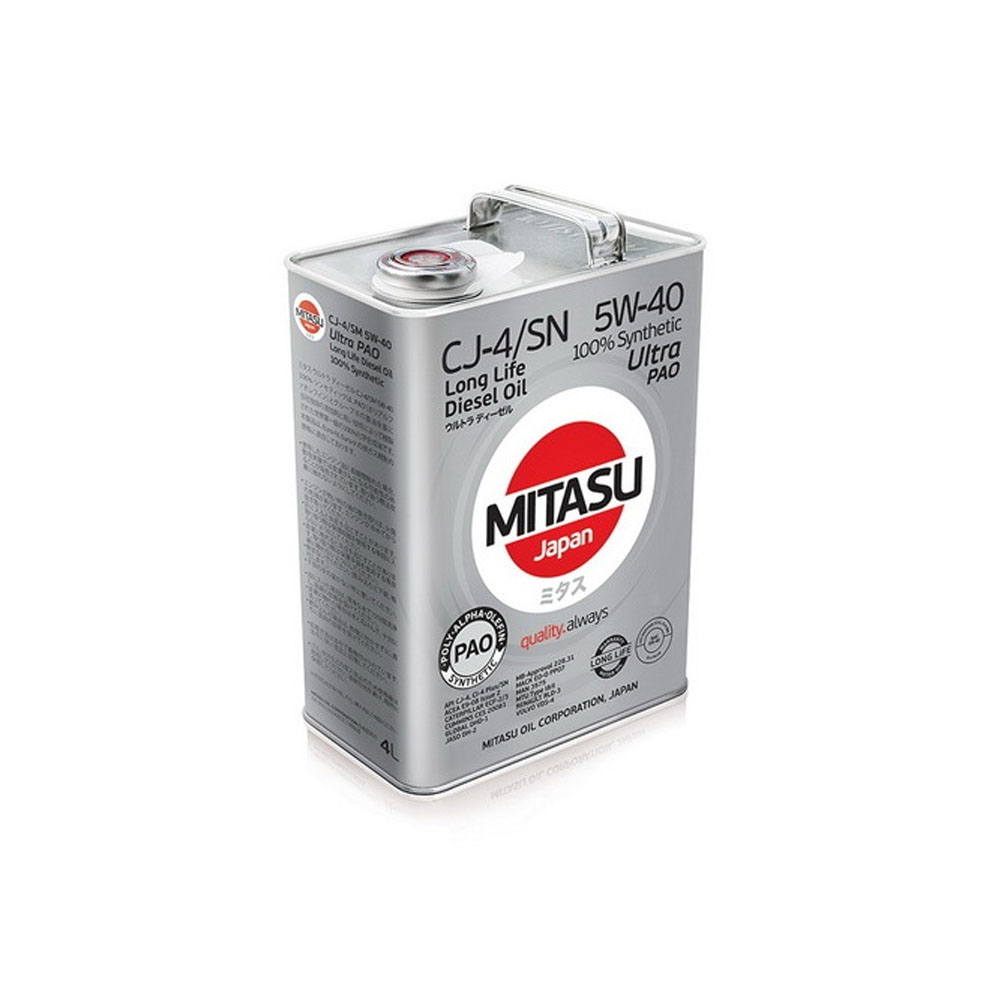 MITASU ULTRA PAO DIESEL CJ-4/SN 5W-40 4L 100% Synthetic