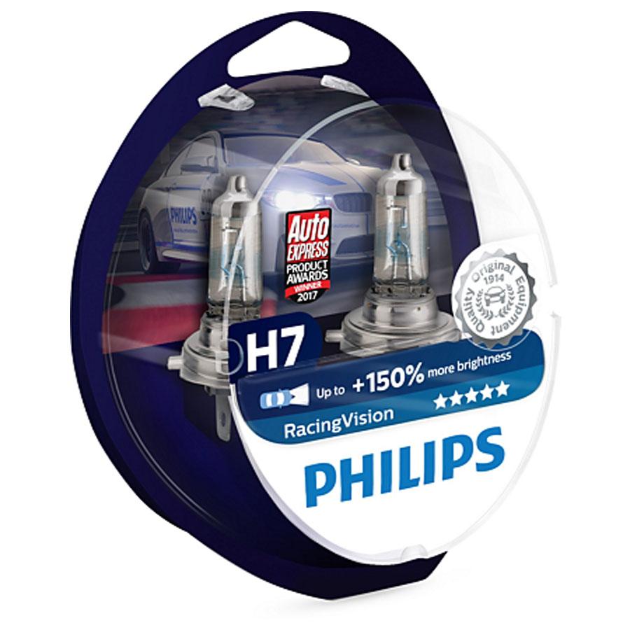 Philips Żarówki H7 Racing Vision +150% Światła 2szt